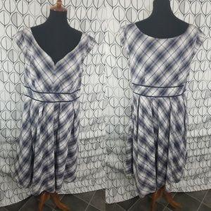 Eshakti Blue Plaid V neck Pleated Dress 18W
